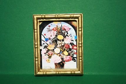 """""""Blumenstrauß in Mauernische"""", Goldrahmen"""