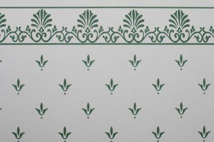 """Tapete """"Lilien"""", weiß/grün, mit Bortenabschluss"""