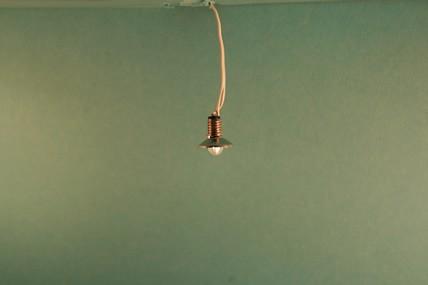 Hängelampe, Metallschirm vernickelt, 12 V., 1:12