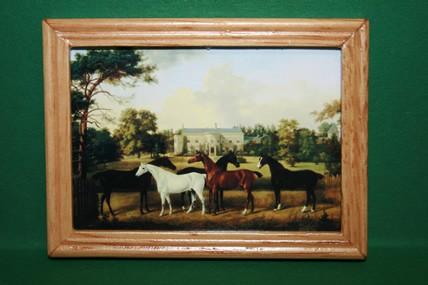 """Pferde vor Landsitz"", Holzrahmen lackiert"