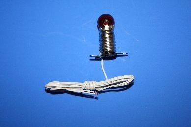 Beleuchtungssockel mit Kabel, Birne rot, 12 V.