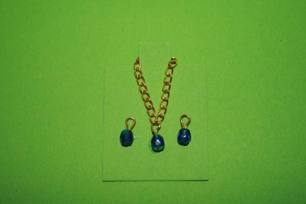 Halskette und Ohrringe goldfarben/blau