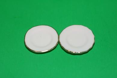 Teller mit Vertiefung, weiß/Goldrand - 2 Stück