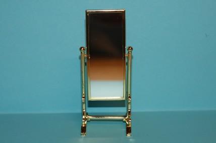 Standspiegel, schwenkbar, Metall gold, 1:12