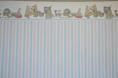 """Tapete """"Kinderzimmer"""", Spielzeug, weiß/blau/rosa"""