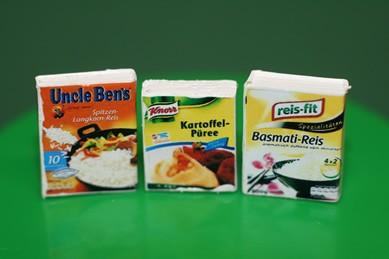 Packungen Reis, Basmati-Reis und Kartoffelpüree, 1:12