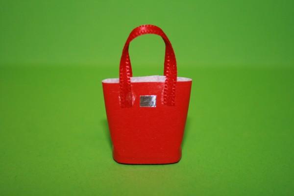 Einkaufstasche rot, Kunstleder