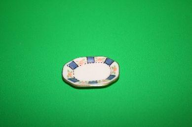 Ovale Platte, weiß/blau/rosa