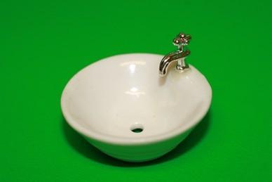 Waschbecken rund, Keramik, weiß