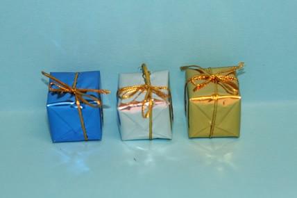 Päckchen - 3 Stück, gold, silber und blau, 1:12