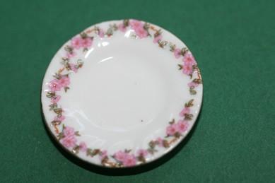 Teller weiß/rosa Blumen mit Goldrand, Porzellan
