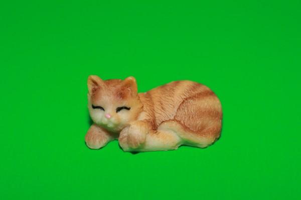 Miniatur Katze orange Kopf links 1:12