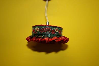 Hänge-Stofflampe rustikal, rot/grün, 12 Volt