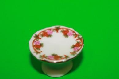 Torten- oder Kuchenetagere, Porzellan weiß/rosa