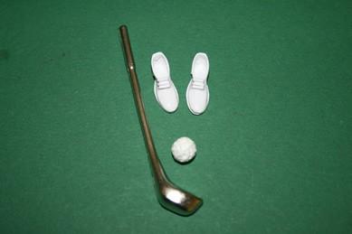 Golfschläger, Schuhe und Ball, 1:12