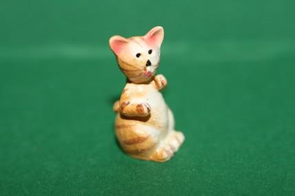 Katze 4 gelb, Porzellan