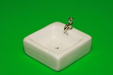 Waschbecken eckig, Keramik, weiß