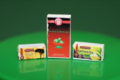 Packungen Pfefferminztee, Grüner Tee und Rotbusch, 1:12