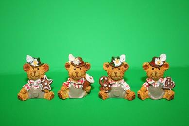 Trachten-Bären, Kunstharz - 4 Stück