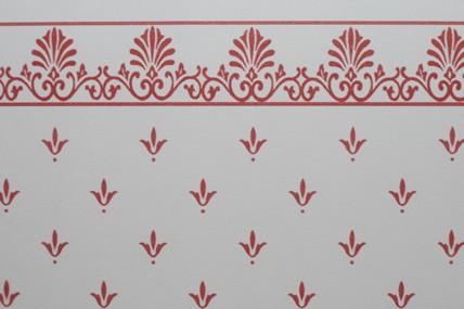 """Tapete """"Lilien"""", weiß/rot, mit Bortenabschluss"""