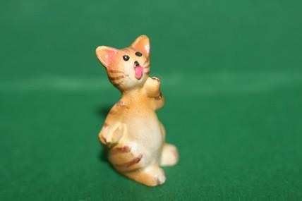 Katze 3 gelb, Porzellan