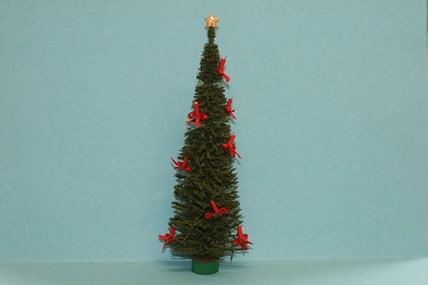 Weihnachtsbaum dekoriert, Kerzen rot, 1:12