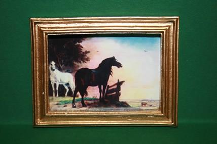 """""""2 Pferde"""", Goldrahmen"""