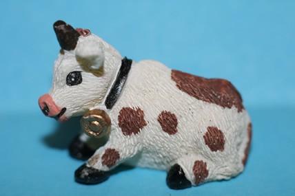 Mini-Kuh 2 braun-weiß, Kunstharz