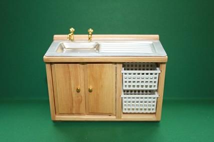 Küchen-Spülschrank m. Körben, Pinie lackiert